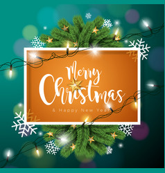 merry christmas on dark green vector image