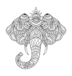 Monochrome hand drawn zentagle an elephant head vector