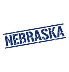 Nebraska blue square stamp vector