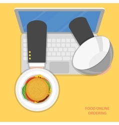 Online food ordering flat concept vector