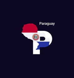 paraguay initial letter country with map and flag vector image