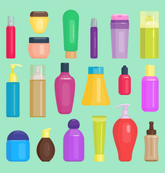 Parfume cosmetics bottles cleaning tidying vector