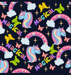pattern with unicorn rainbow and stars vector image