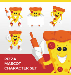 pizza mascot character set logo icon vector image