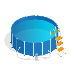 Portable plastic swimming pool isometric 3d vector image