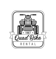 Quad Bike For Rent Label Design Black And White vector