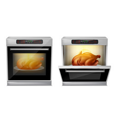 Realistic oven with turkey on plate inside vector