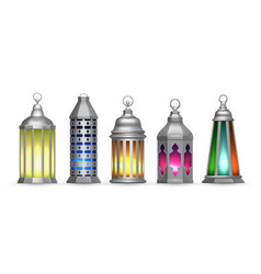realistic silver arab lamps colorful oriental vector image