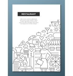 Restaurant - line design brochure poster template vector