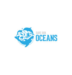 Save our ocean style design logo vector