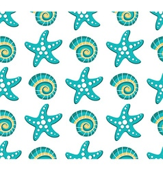 seamless pattern with sea stars and seashel vector image