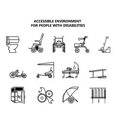 Set icons on accessible environment for people vector