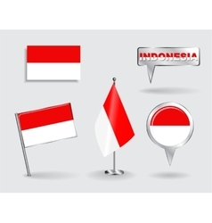Set indonesian pin icon and map pointer flags vector