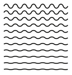 Set of wavy horizontal lines design element vector