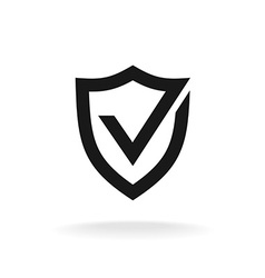Shield with check mark black icon Protection vector image