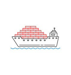 Simple cargo ship with container on wave vector