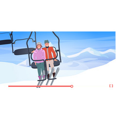 Skiers couple in cable car man woman sitting vector