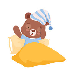 sleepy bear character yawning getting ready to vector image