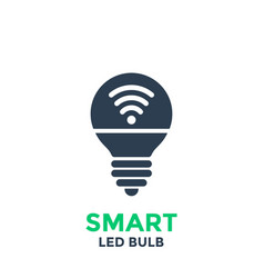 Smart led light bulb icon isolated on white vector