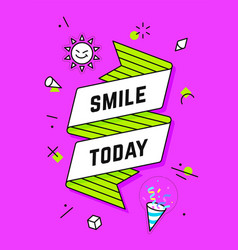 smile today vintage ribbon banner vector image