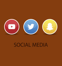 Social media icons youtube icon and twitter icon vector