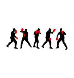 Sparring trainer working with fighter silhouette vector