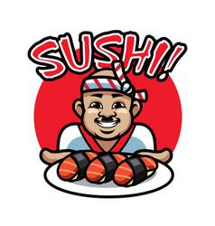 Sushi chef mascot vector
