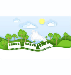 train travels through forest vector image