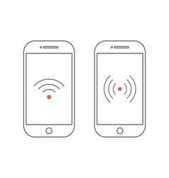 two outline smartphones with different wifi icons vector image