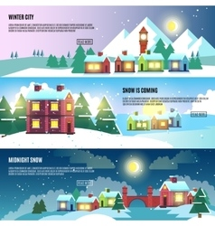 Urban city cityscape winter banners set vector