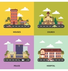 Urban landscape 4 flat icons banner vector image