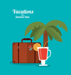 Vacations summer time - cocktail suitcase and palm vector