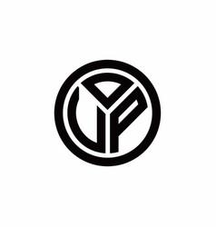 Vp monogram logo with circle outline design vector