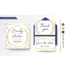 Wedding invitation save date thank you cards vector