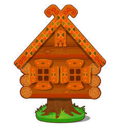 wooden house of baba yaga isolated on white vector image