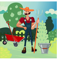 worker in a garden man is working in a farm vector image