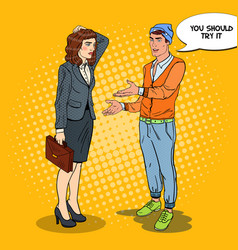 young man explaining to businesswoman pop art vector image