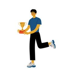young man holding winner cup happy positive guy vector image