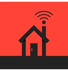 black smart house with wifi icon on red background vector image vector image
