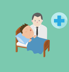 doctor and patient care on bed and cure symbol vector image vector image