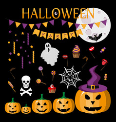 halloween party icon flat vector image