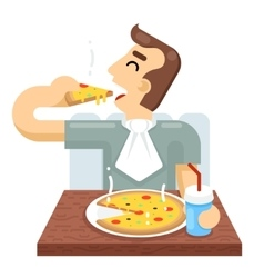 Man eat pizza symbol icon concept isolated flat vector