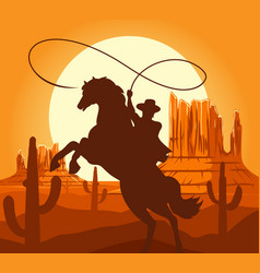 western cowboys silhouette in desert vector image