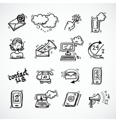 Contact Us Icons Sketch vector image vector image