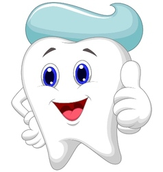 Cute tooth cartoon giving a thumb up vector image vector image