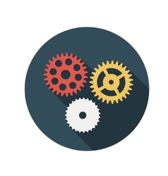 Flat Design Concept Gears With Long Shadow vector image