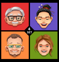 funny face -set 4 vector image vector image