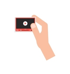 hand holding little video player card vector image vector image
