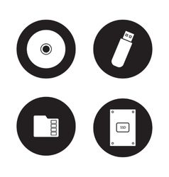 Data storage devices black icons set vector image
