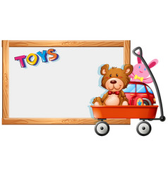 frame template with toys on red wagon vector image